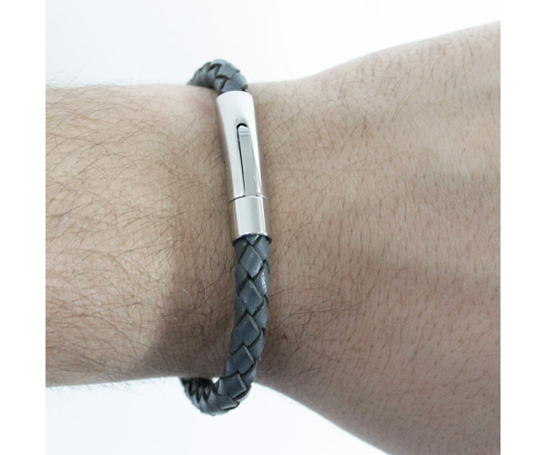Bracelete de Aço Inox 316L Com Couro Modelo Grey