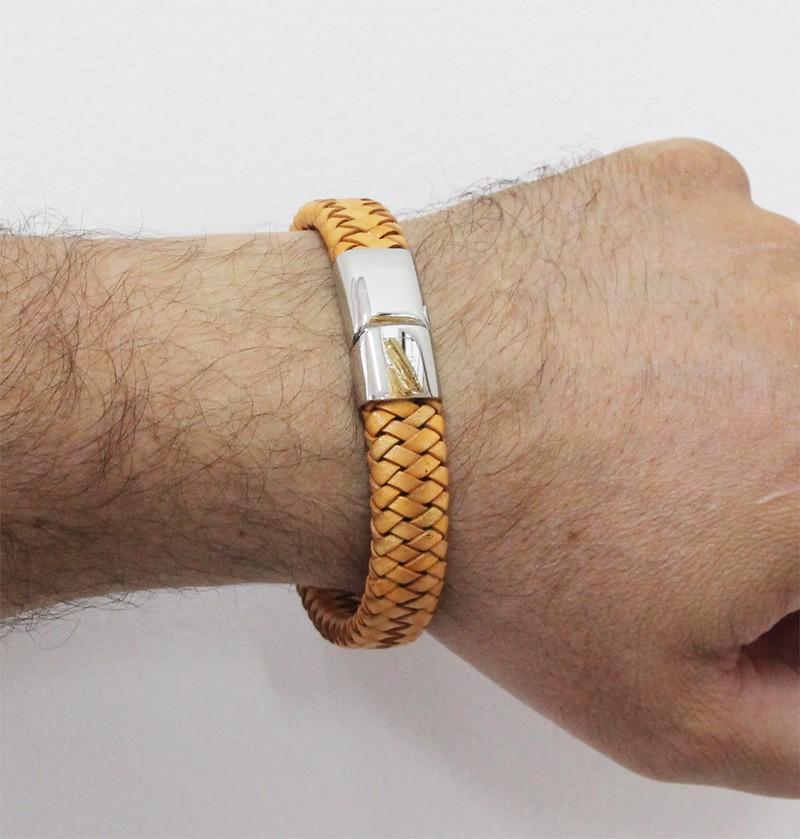 Bracelete de Aço Inox 316L Com Couro Legítimo Modelo Sandy Color