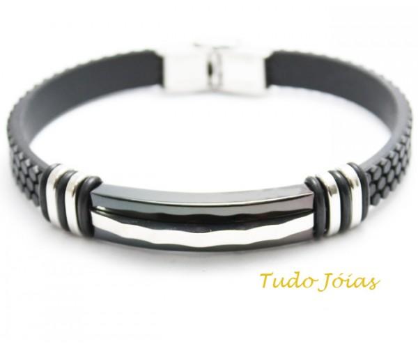 Bracelete de Aço Inox 316L Com Silicone 12mm de largura