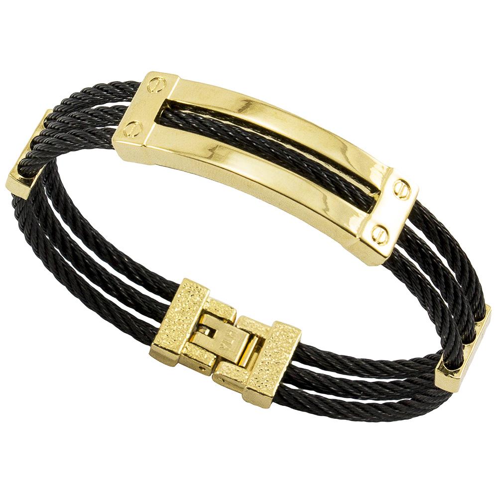 Bracelete de Aço Inox 316L Modelo Cabo Náutico Black