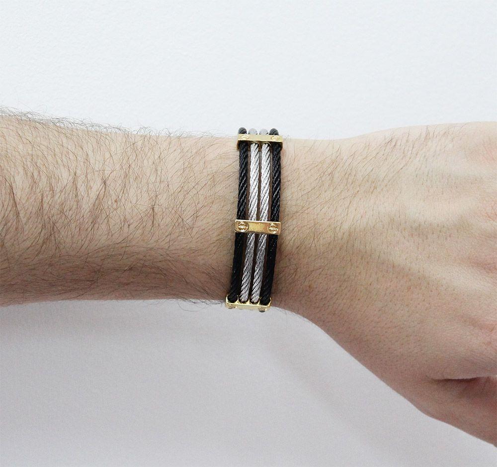 Bracelete de Aço Inox 3 Cores com 15mm de Largura