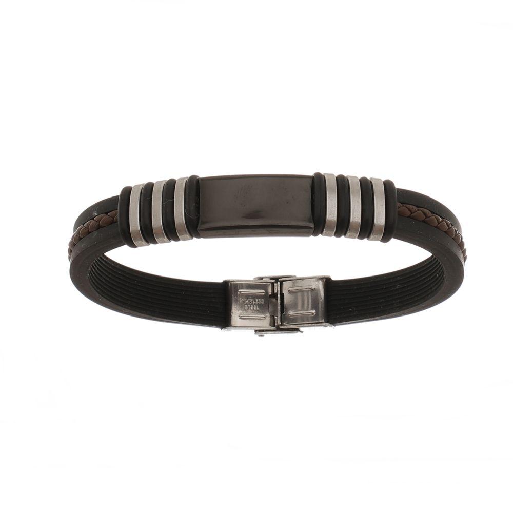 Bracelete de Aço Inox Black com Silicone 11mm de Largura