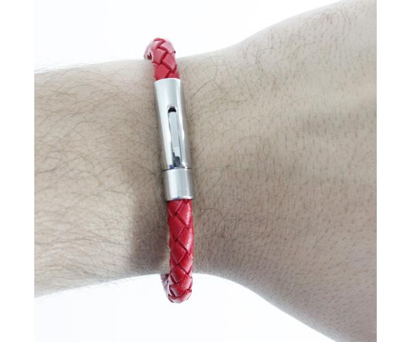 Bracelete de Aço Inox Com Couro Bright Red