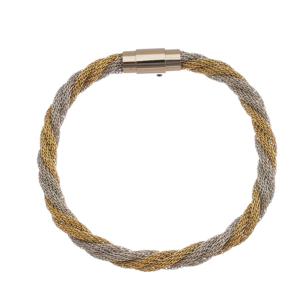 Bracelete de Aço Inox Dupla Cor 6mm de Largura Entrelaçado
