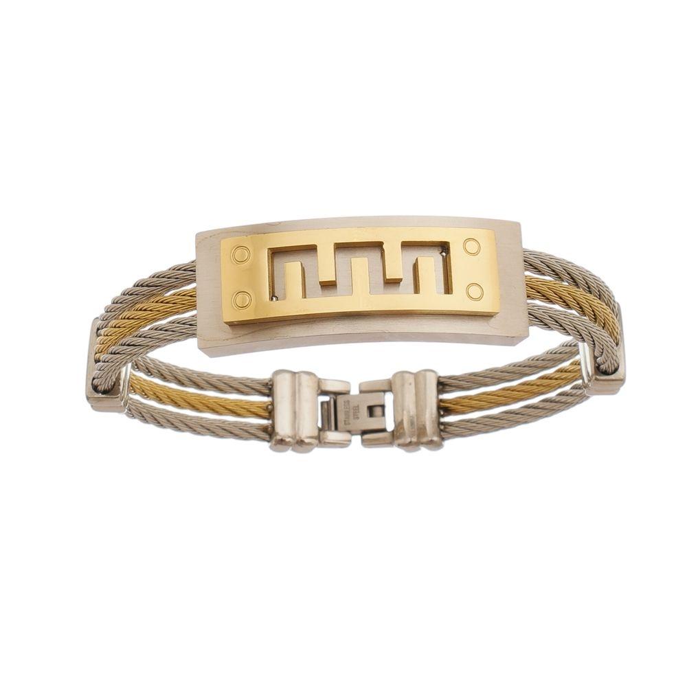 Bracelete de Aço Inox Dupla Cor com 15mm de Largura