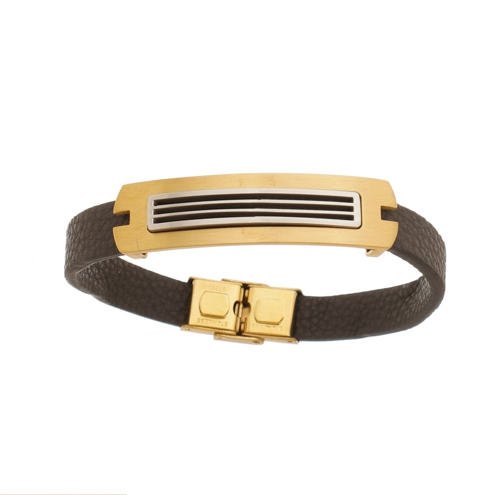 Bracelete de Aço Inox Gold com 12mm de Largura