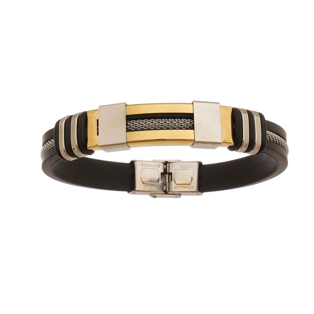 Bracelete de Aço Inox Gold com 12mm de Largura e Cabo