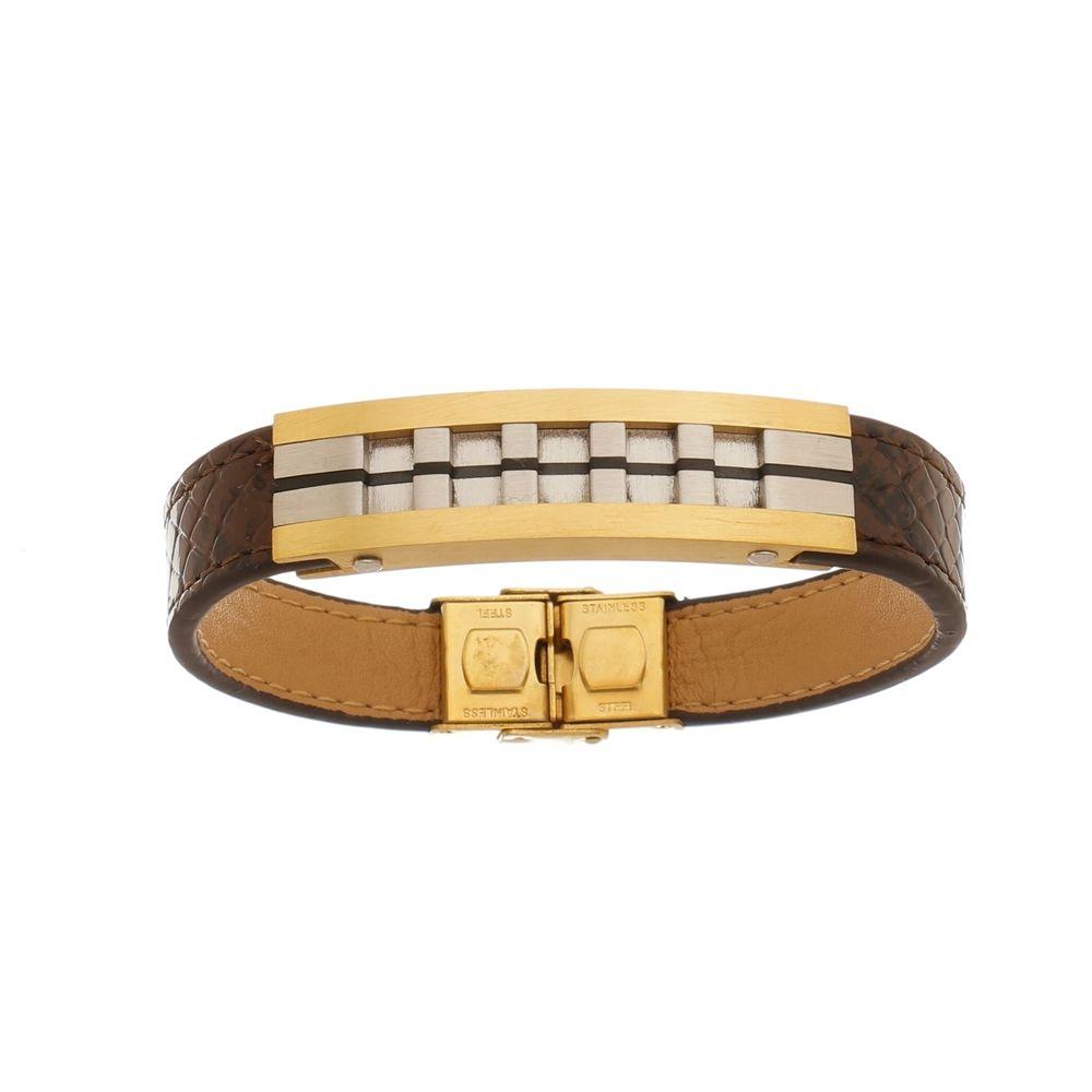 Bracelete de Aço Inox Gold com 13mm de Largura