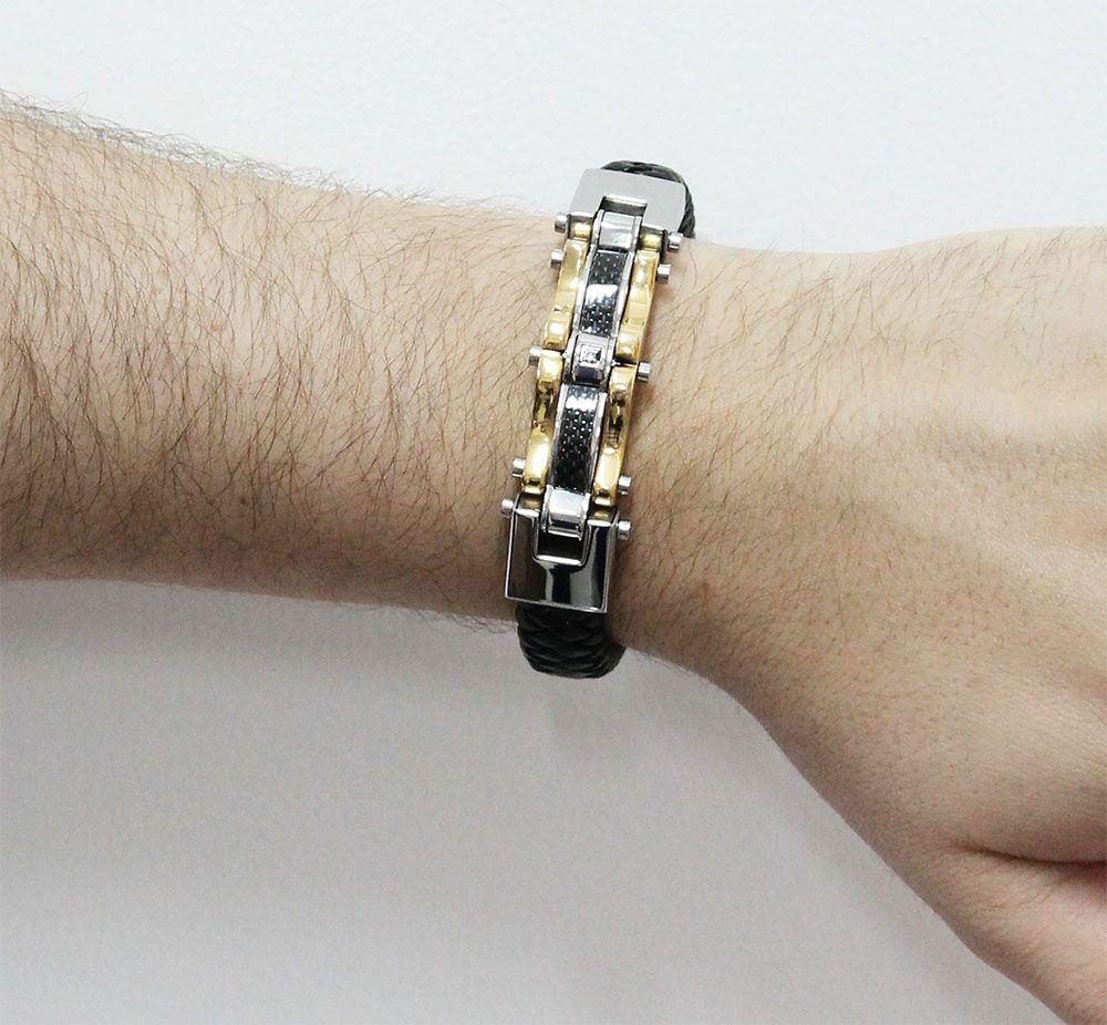 Bracelete de Aço Inox Gold com 15mm de Largura