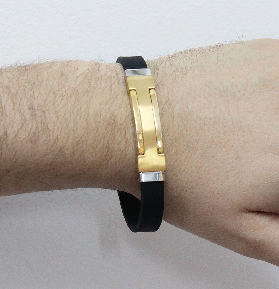 Bracelete de Aço Inox Gold com Silicone 12mm de Largura