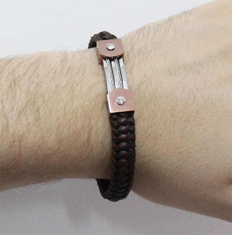 Bracelete de Aço Inox Rosê com 11mm de Largura