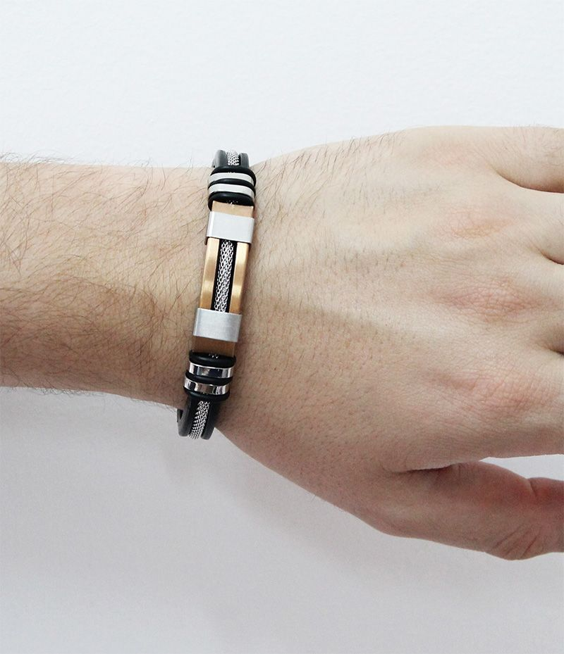 Bracelete de Aço Inox Rosê com 12mm de Largura