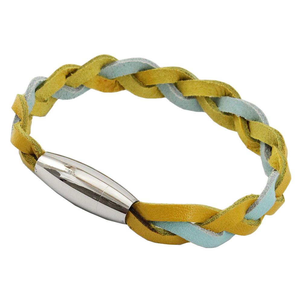Bracelete de Couro Azul Água e Amarelo Com Fecho de Aço Inox 316L