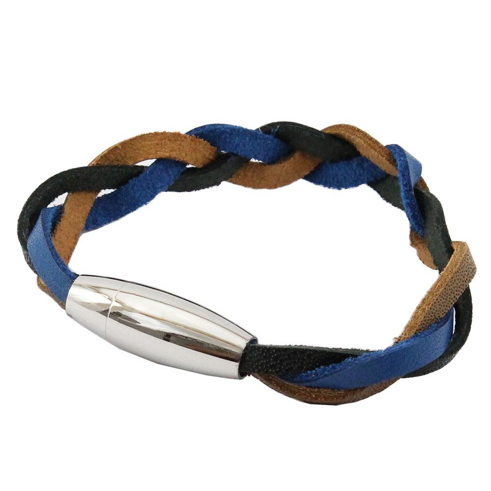 Bracelete de Couro Azul Preto Marrom Com Fecho de Aço Inox 316L
