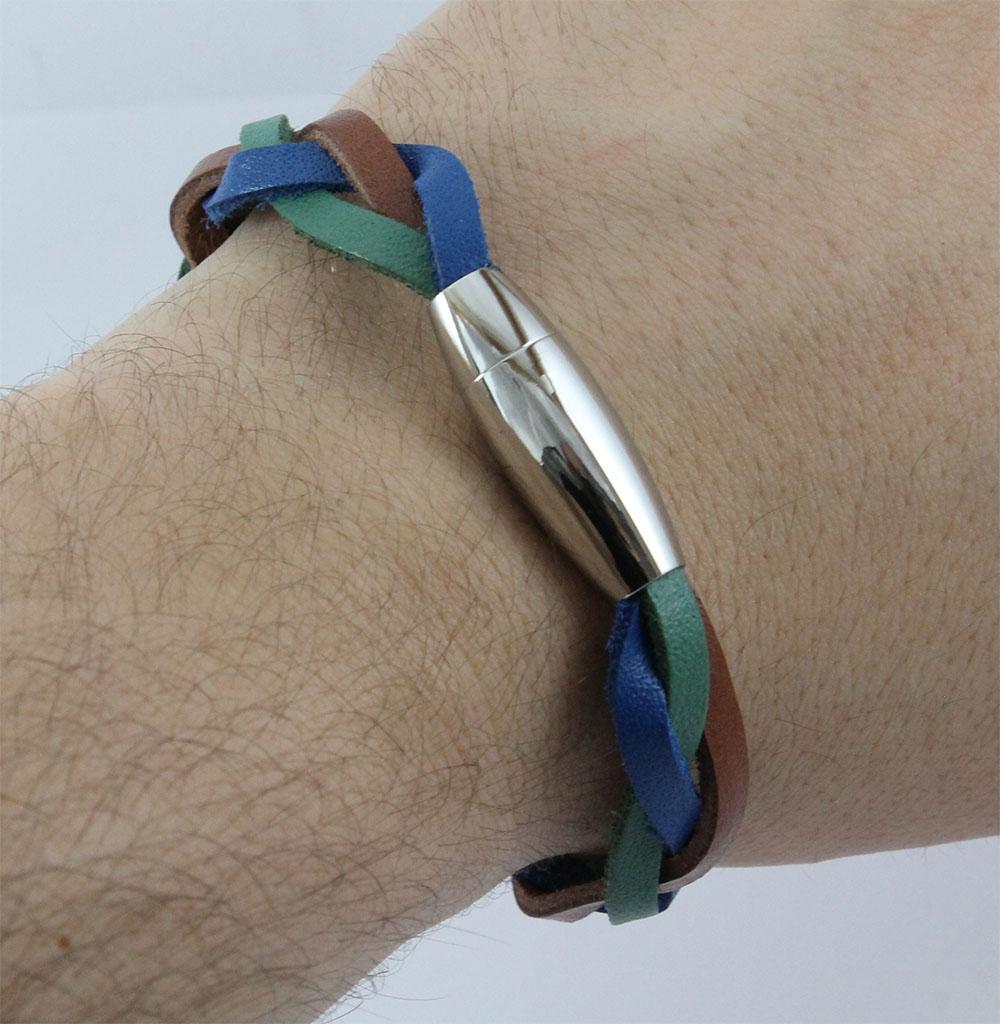 Bracelete de Couro Azul Verde Marrom Com Fecho de Aço Inox 316L