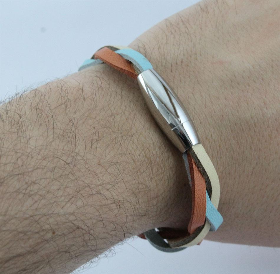 Bracelete de Couro Begê Azul e Salmão Com Fecho de Aço Inox 316L