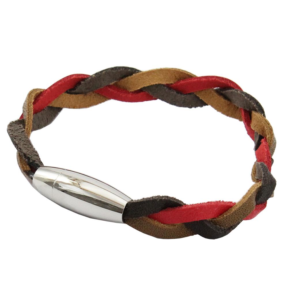 Bracelete de Couro Marrom e Vermelho Com Fecho de Aço Inox 316L