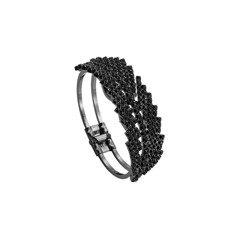 Bracelete Folhas Com Zircônias Folheado a Ródio Black