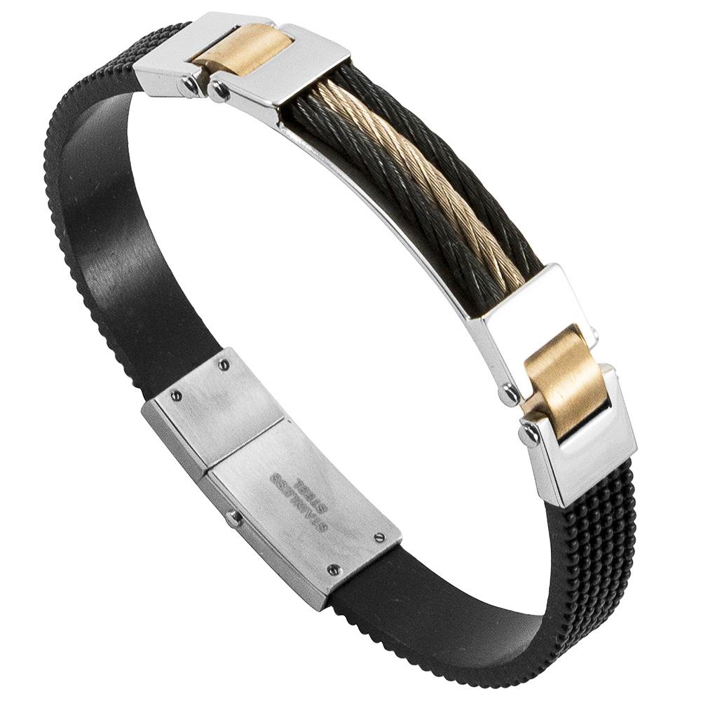Bracelete Luxe de Aço Inox 316L Com Cabo Náutico e Folheação Rosê e Black