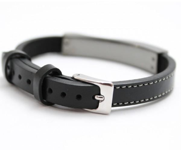Bracelete Luxe de Aço Inox com Couro Legítimo e Folheação Chumbo
