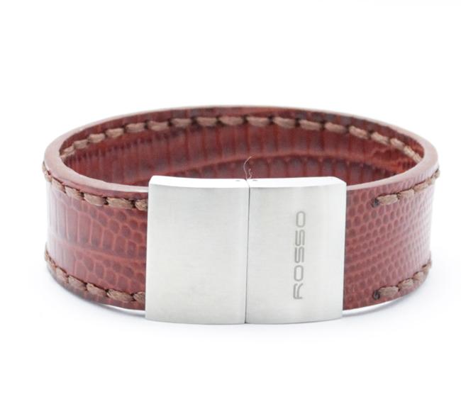 Bracelete Rosso de aço Inox com Couro Cor Cafa com 21mm de Largura