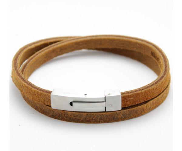 Bracelete Rosso de Aço Inox com Couro Modelo 2 Voltas Cor Whisky