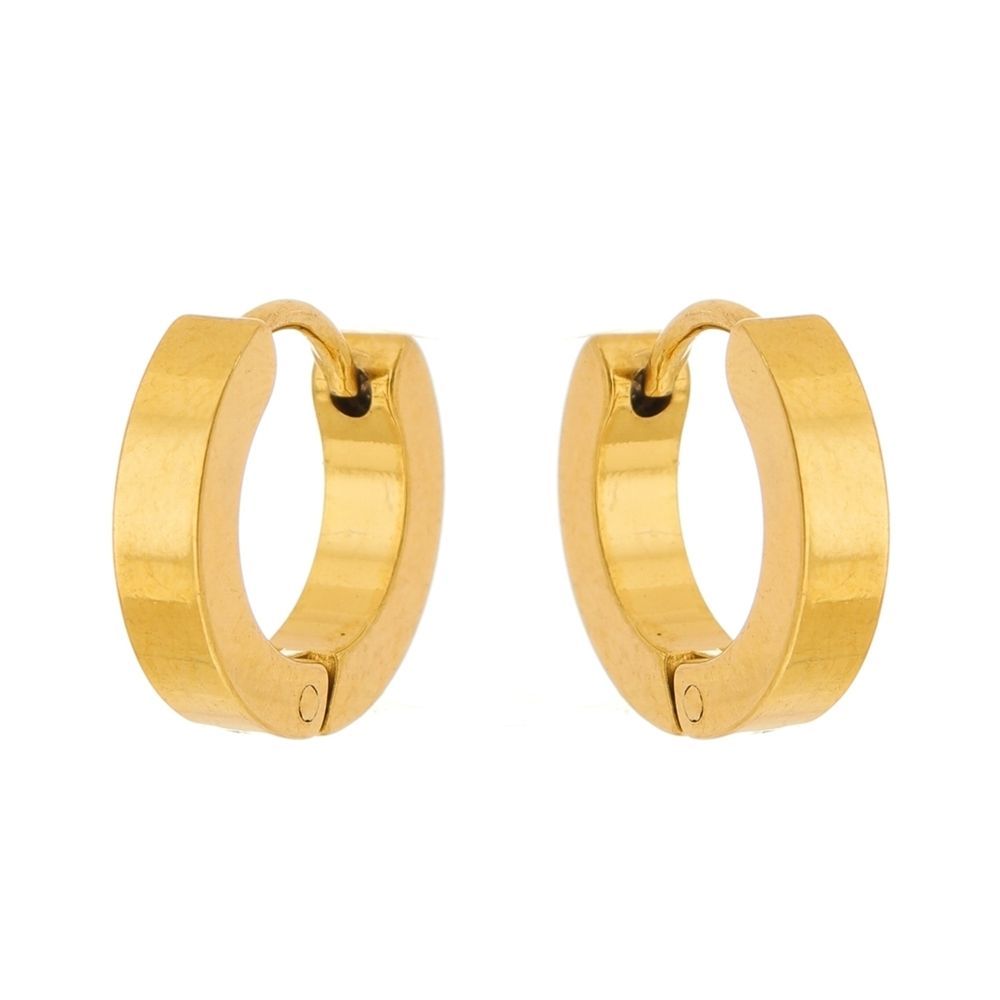 Brinco Argola Aço Inox Modelo Reto Dourado