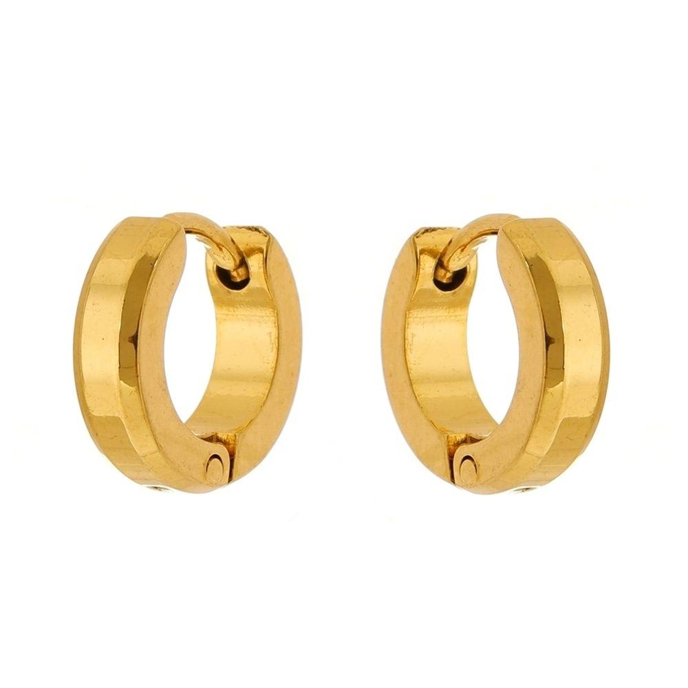 Brinco Argola de Aço Inox Dourado Modelo Chanfrado