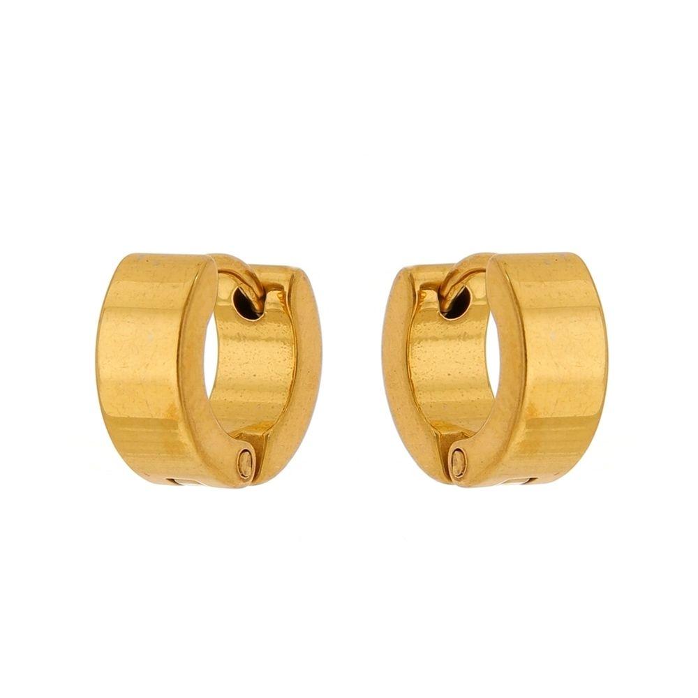 Brinco Argola de Aço Inox Dourado Modelo Reto