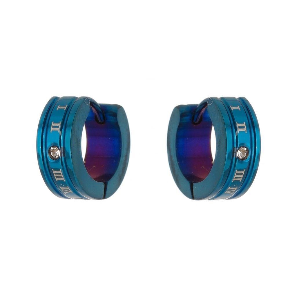 Brinco Argola de Aço Inox Modelo Algarismo Romano Azul