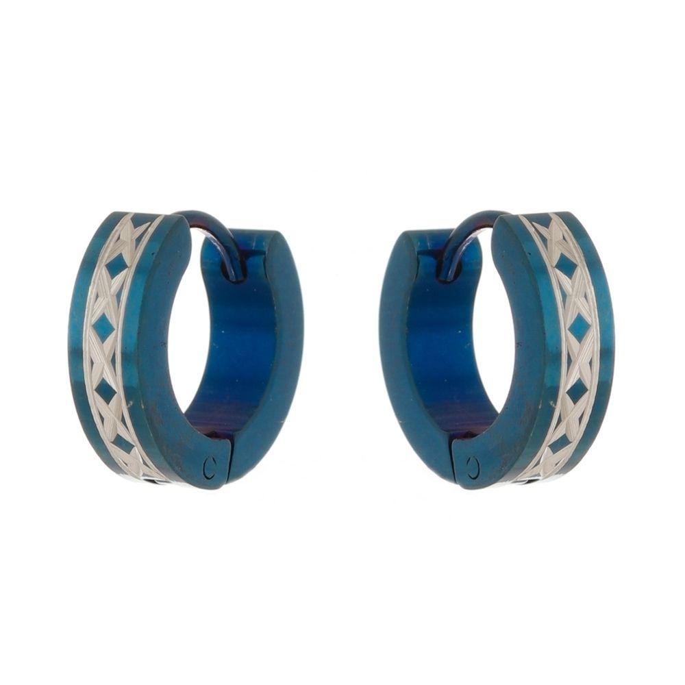 Brinco Argola de Aço Inox Modelo Trançado Azul
