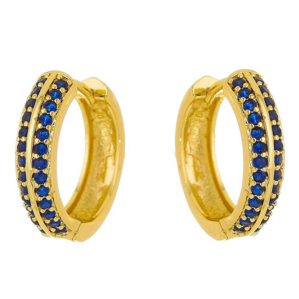 Brinco Argola Safira Azul Com Zircônias Folheado a Ouro  18k