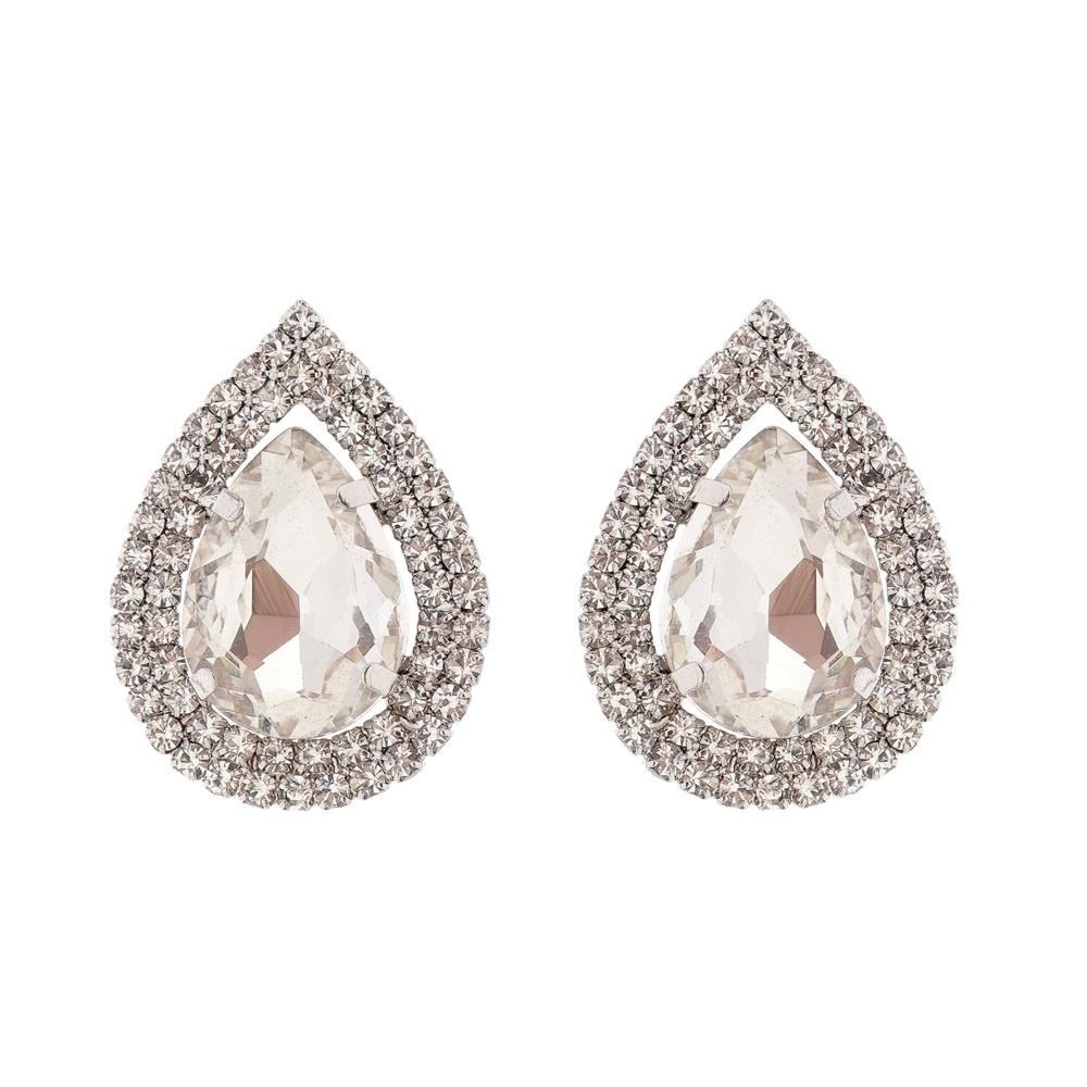 Brinco Gota Com Pedra Cor Diamante Folheado a Ródio Com Zircônias