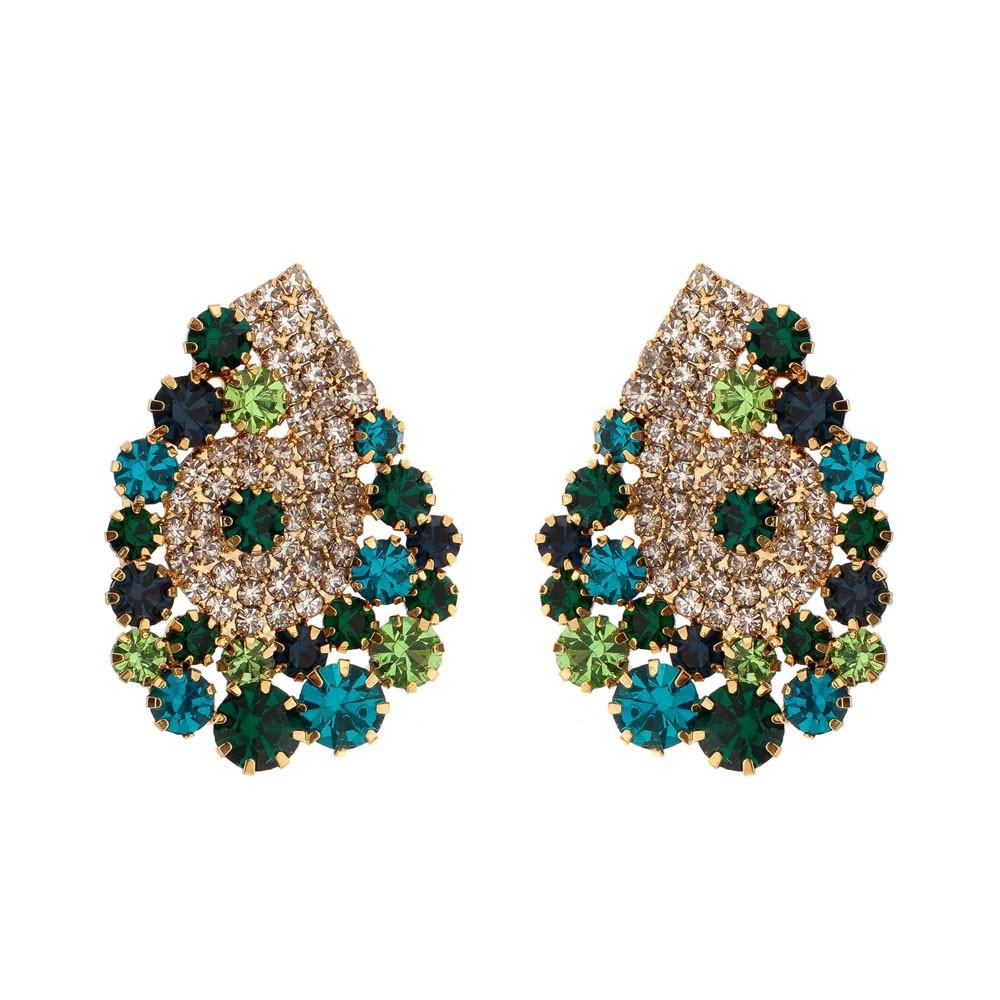 Brinco Gota Com Pedras Cristal Multi Tons de Verde Folheado a Ouro 18k Com Zircônias