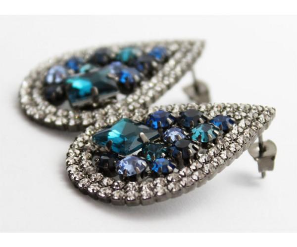 Brinco Gota Com Pedras Multi Tons de Azul Folheado a Ródio Negro Com Zircônias