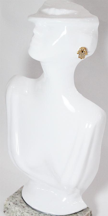 Brinco Mão de Hamesh Folheado a Ouro 18k Com Zircônias