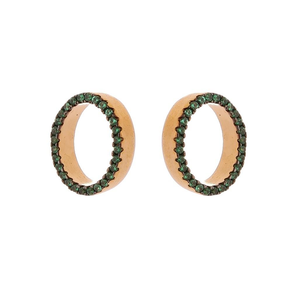 Brinco Oval Folheado a Ouro 18k Com Zircônias Verde