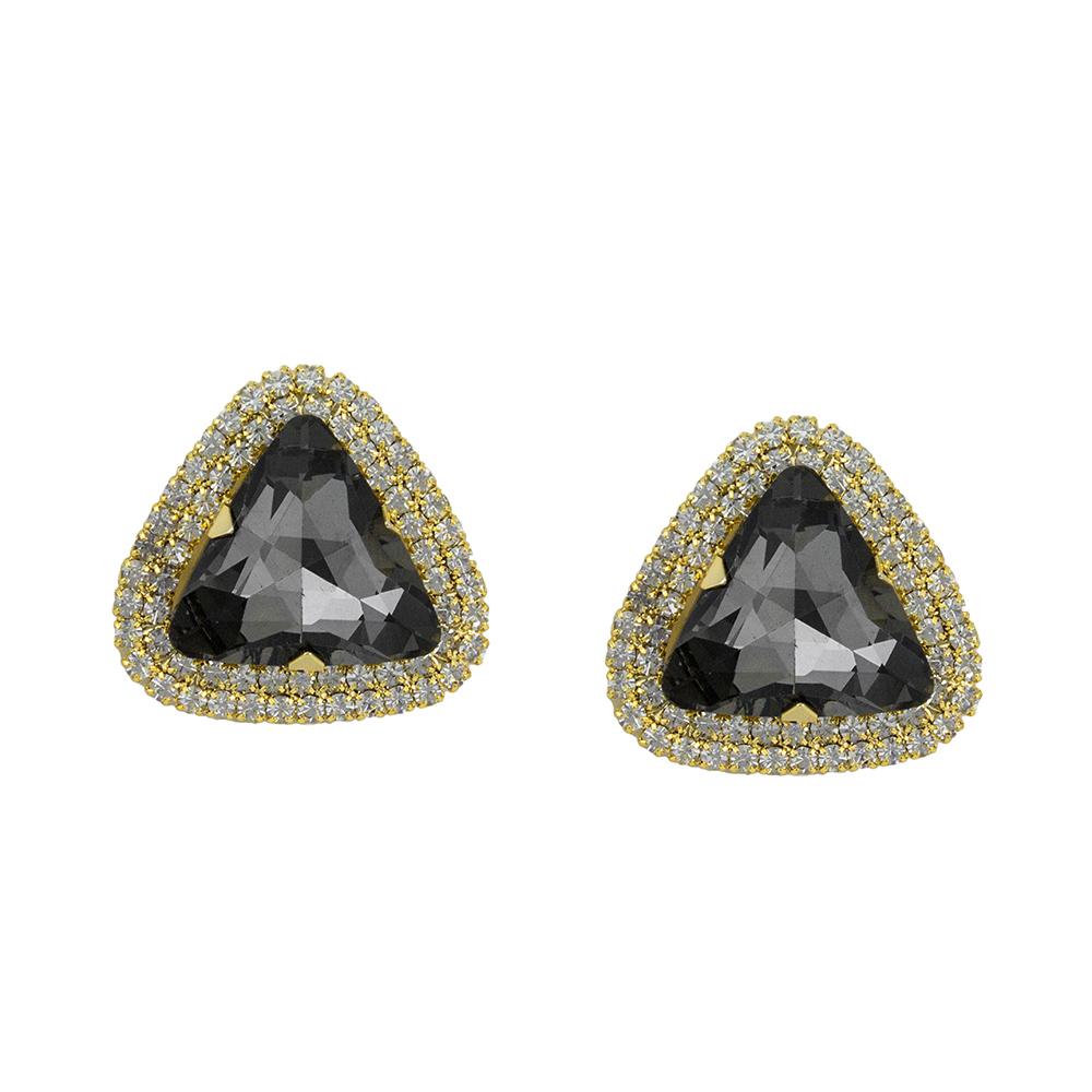 Brinco Pedra Cor Quartzo-Fumê Folheada a Ouro 18k Com Zircônias
