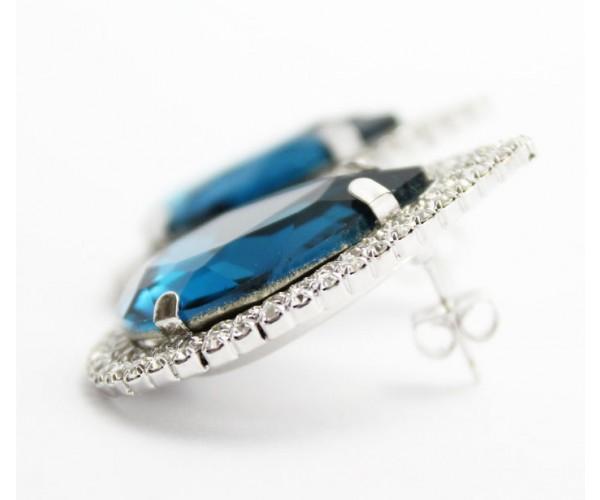 Brinco Pedra Cristal Aquamarine Folheado a Ródio Com Zircônias