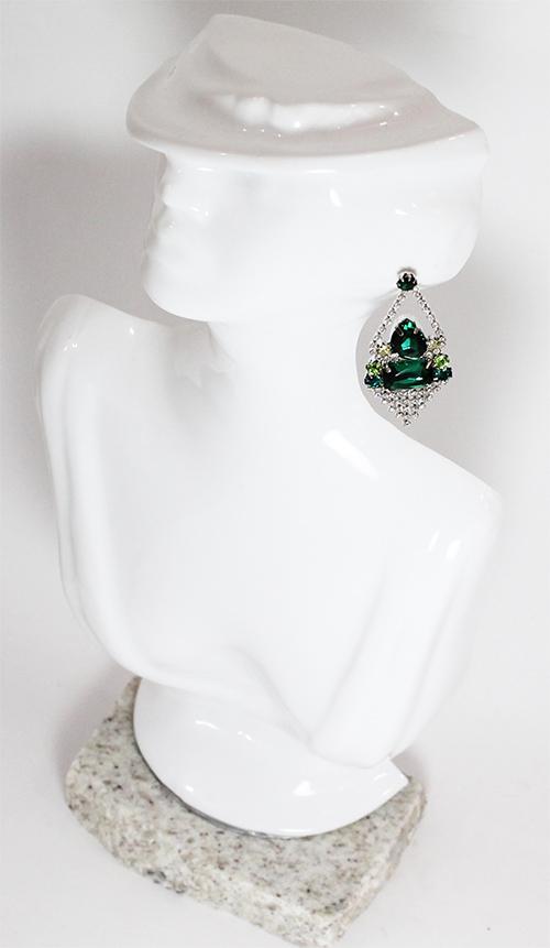 Brinco Pedra Cristal Cor Turmalina Green Folheada a Ródio Com Zircônias