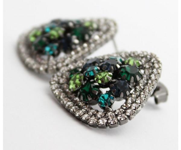 Brinco Pedras Multi Tons de Verde Folheado a Ródio Negro Com Zircônias