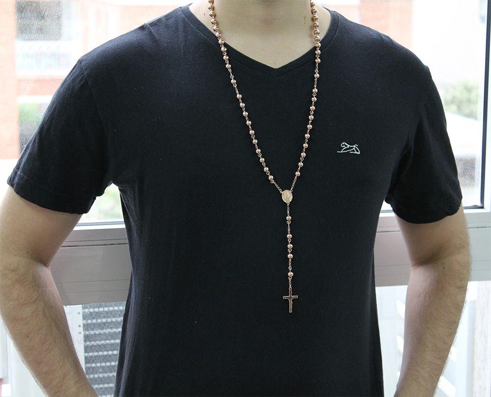 Colar Terço Com Crucifixo Dourado de Aço Inox