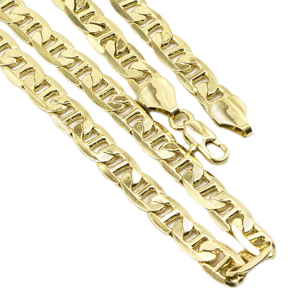 Conjunto Pulseira e Corrente Folheado a Ouro Modelo francês