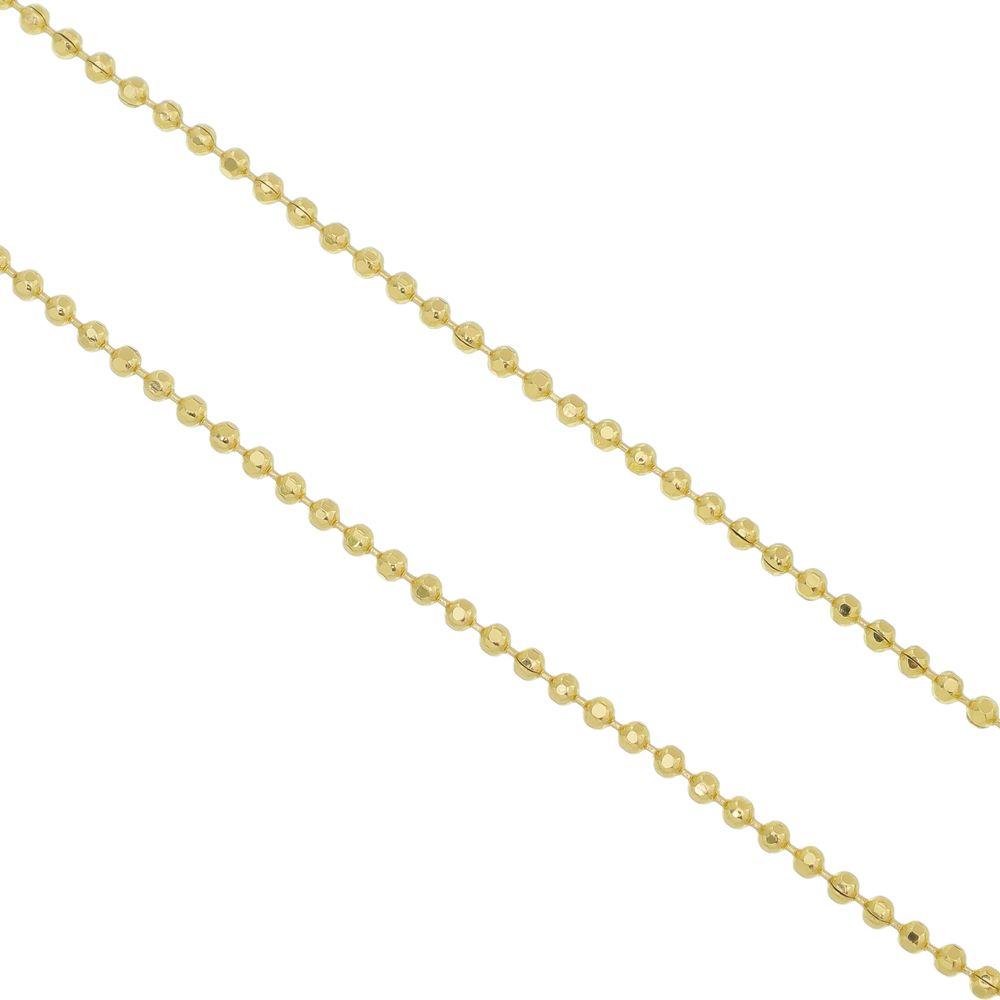 Corrente Folheada a Ouro 18k Modelo Bolinha Corte Diamantado