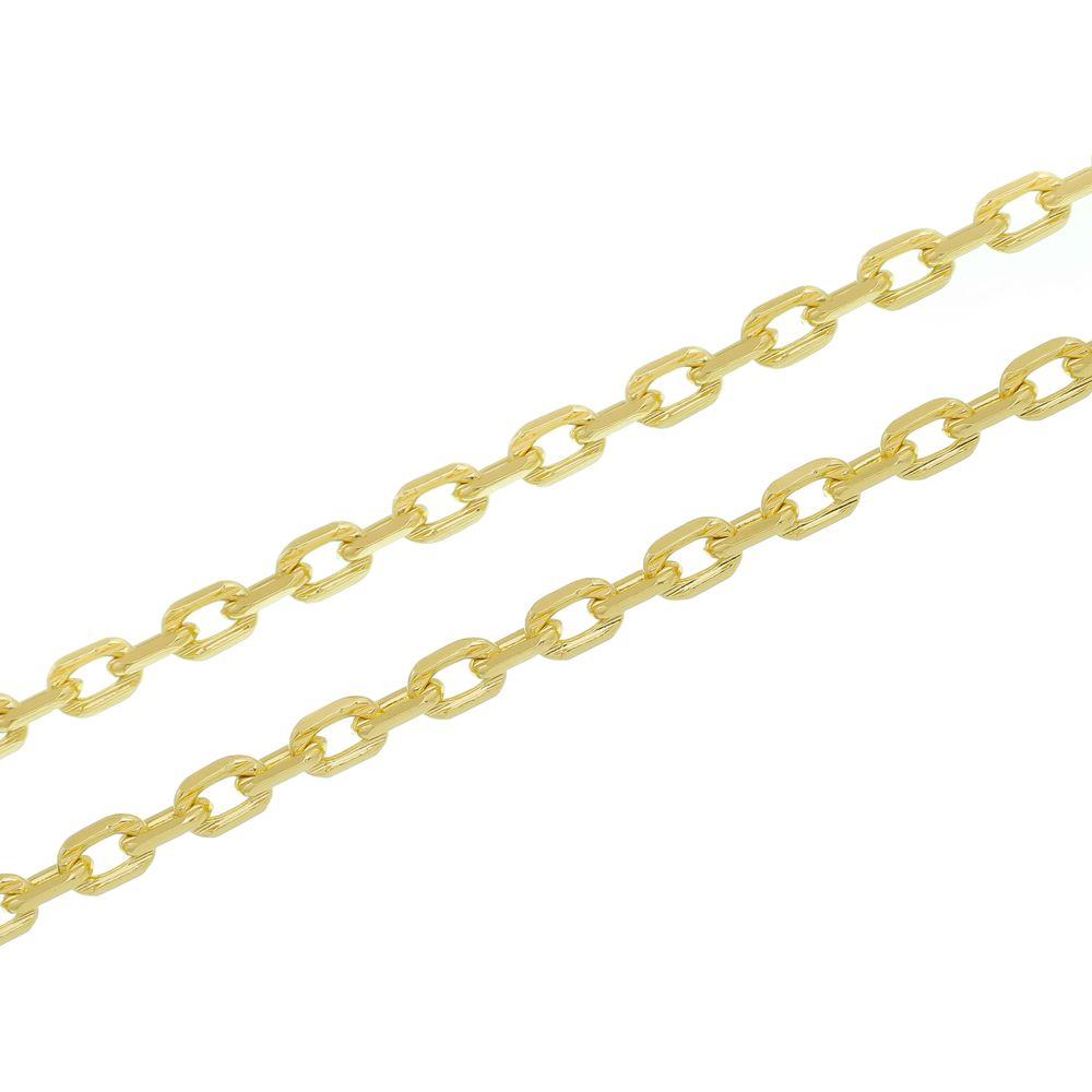 Corrente Folheada a Ouro 18k modelo francesa Corte Diamantado Com 70 cm