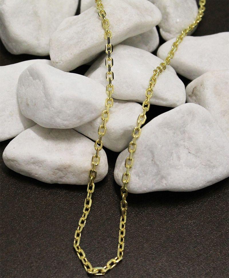 Corrente Folheada a Ouro 18k Modelo Cartier Corte Diamantado Com 70 cm