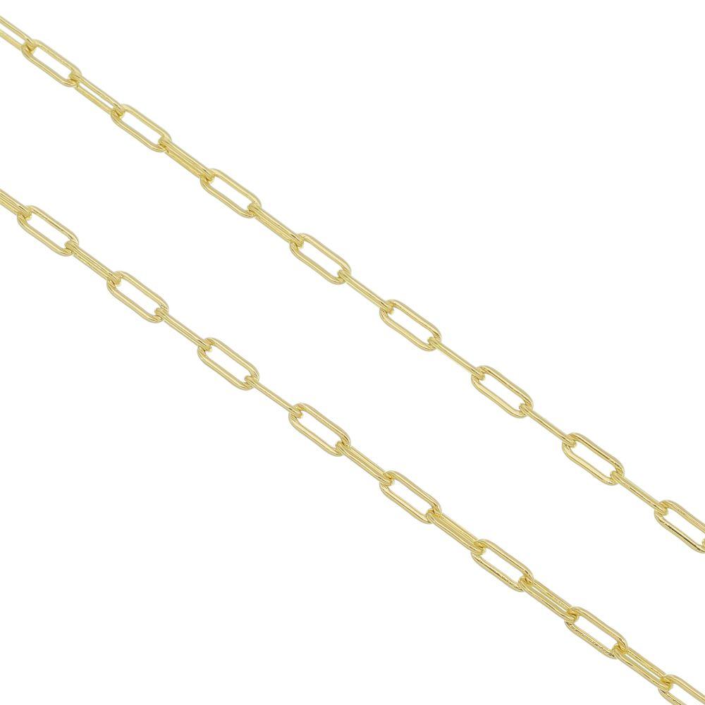 Corrente Folheada a Ouro 18k modelo francesa Longa com 70cm