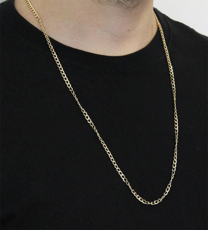 Corrente Folheada a Ouro 18k Modelo Grument Com 70 cm
