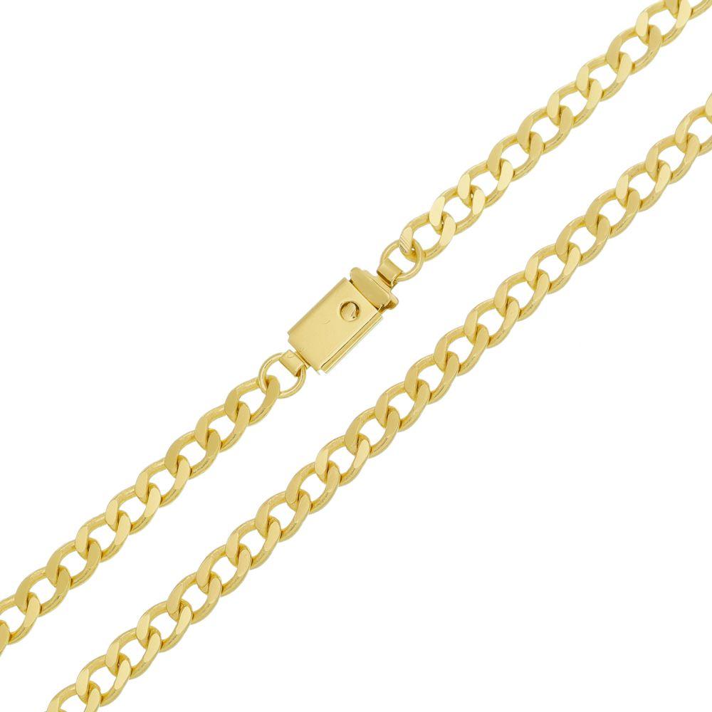 Corrente Grumet 5mm Folheada a Ouro Fecho Gaveta