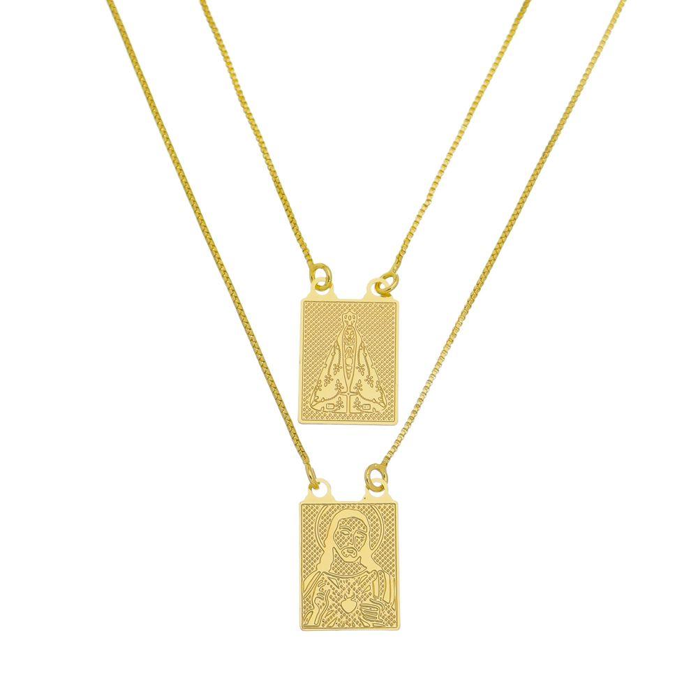 Escapulário Jesus e Nossa Senhora Folheado a Ouro 18k